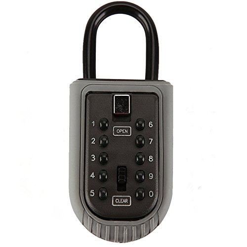 Key Lock Box Storage Combination Realtor Key Safe Box 10-Digit Push Button Set Your Own Combination Padlock Security Key Lock Box for Home Garage School Spare House Keys
