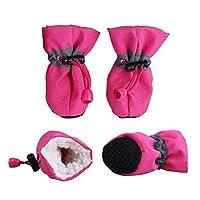 ZYHWS ペットの冬の暖かいソフトカシミヤの反スキッドレインシューズのための犬のペットの防水柔らかい履物の滑り止め防止の防水シューズ (Color : MR, Size : L)