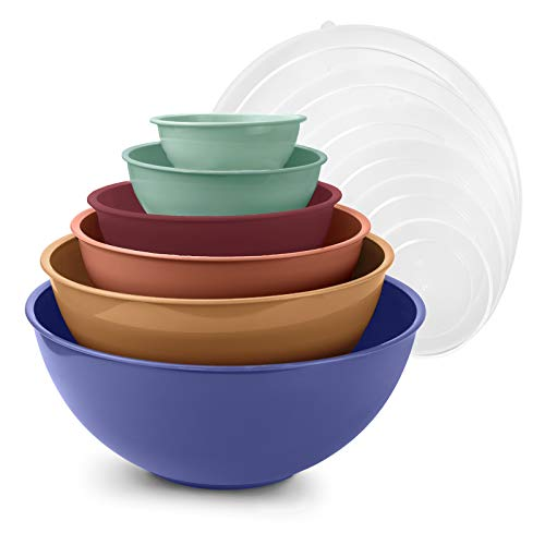 Cook with Color Mixing Bowls with Lids  12 Piece Plastic Nesting Bowls Set includes 6 Prep Bowls and 6 Lids Microwave Safe Mixing Bowl Set Multicolored Set with Large Blue Bowl