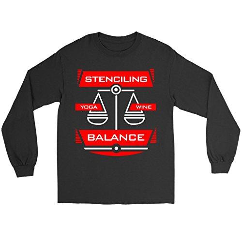 Teelaunch Stenciling Balance Equals Yoga & Wine - Hobbies Long Sleeve T-Shirt, 2XL