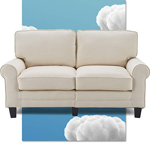 """Serta Copenhagen 61"""" Loveseat - Pillowed Back Cushions and Rounded Arms, Durable Modern Upholstered Fabric - Buttercream"""