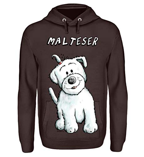 Shirtee Happy Malteser - Felpa con cappuccio, unisex cioccolata calda L