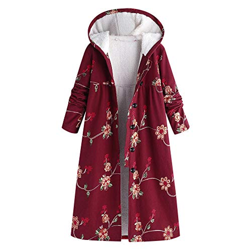 VEZAD Women Long Coat Plus Size Button Hooded Cotton Linen Fluffy Fur Print Outwear
