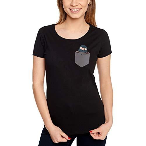Preisvergleich Produktbild Elbenwald Phantastische Tierwesen T-Shirt Pocket Niffler Frontprint schwarz - S