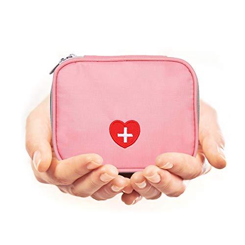 Eshow Oxford Gewebe Medizintasche für Notfälle Betreuertasche Reiseapotheke Tasche Erste Hilfe Set Medizinkoffer Sanitätstasche Rosa 3 cm (W) x 4 cm (H) x 10 cm (D)