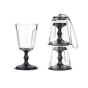 Kikkerland Stacking Wine Glass Black Set of 2