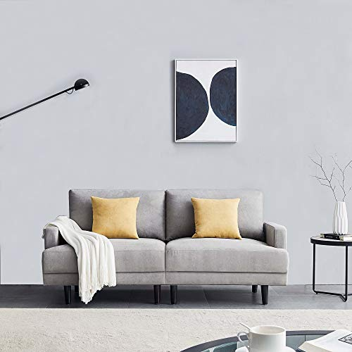 Belissy Sofá de salón, sofá, sofá de 3 plazas, sofá de tela de 3 plazas, sofá de 3 plazas, sofá de tela de poliéster, muebles tapizados para pequeños apartamentos, diseño moderno, 180 cm (gris)