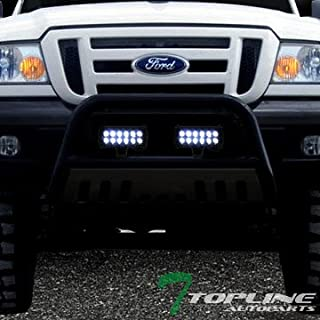 Topline Autopart Black Bull Bar Brush Push Bumper Grill Grille Guard With Skid Plate + 36W CREE LED Fog Lights For 98-11 Ford Ranger