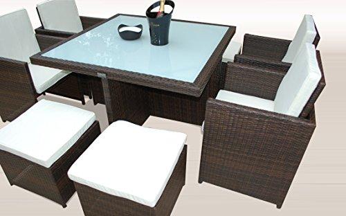 Ragnarök-Möbeldesign PolyRattan - DEUTSCHE Marke - EIGNENE Produktion - 8 Jahre GARANTIE auf UV-Beständigkeit Gartenmöbel Essgruppe Tisch + 4 Stühle & 4 Hocker 12 Polster Braun - 5