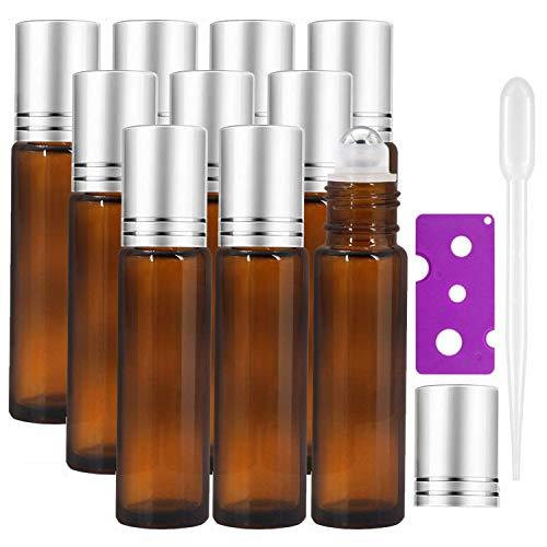 Alledomain 10pcs, 10ml etherische oliën Rollerflessen - Amberglas Roll op flessen met metalen Roller Ball & Silver Cap - Inclusief 1 flesopener & 1 Dropper & 12 etiketten - Perfect voor Aromatherapie