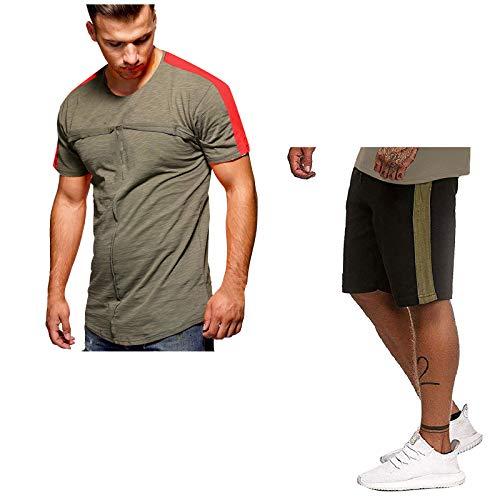 YSYOkow Chándal casual para hombre, camisetas y pantalones cortos para correr, correr, atlético, conjunto deportivo