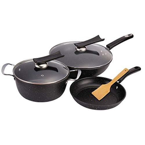 ROYWY Batería de CocinaJuego de 3 piezas,Sartén antiadherente,Sartén,Wok,Olla de sopa,Tapas de Cristal,apta para todo tipo de cocinas incluso inducción Olla Baja