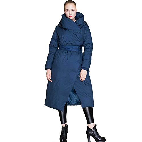 Chaqueta de plumón de Invierno para Mujer Abrigo Elegante Vintage Largo 90% Abrigo de plumón de Pato Blanco Grueso Cálido con Capucha Outwears
