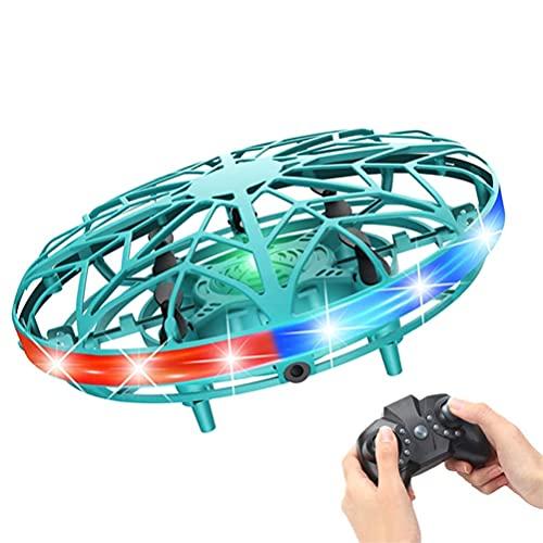 l b s Drones operados a mano para niños Ufo Drone juguete con 5 cabezas de inducción ovni drone volador juguete con luces coloridas adecuado para niños y niñas de más de 4 años (color: blanco) (verde)