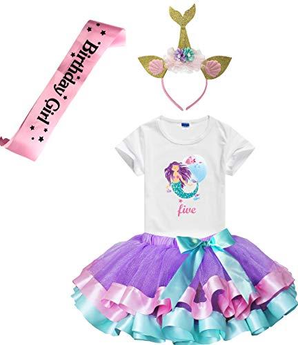 Girls Lavender Tutu Dress with Mermaid Birthday Tshirt & Headband, 3-8 Years (Five)