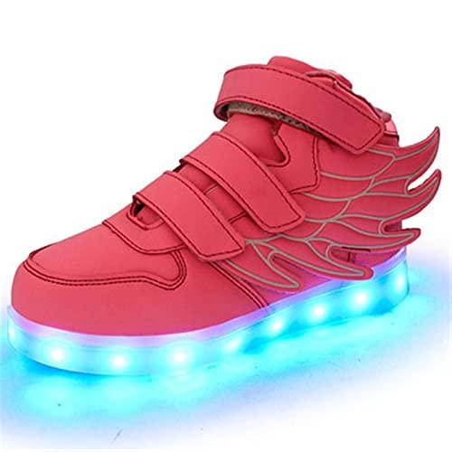 Zapatos Unisex Zapatos Luminosa para niños y niñas 7 Colores Zapatos Leds USB Cargando Zapatos Luminosos Zapatillas de Deporte Zapatos Casuales Zapatos Deportivos (Color : Pink, Size : 33)
