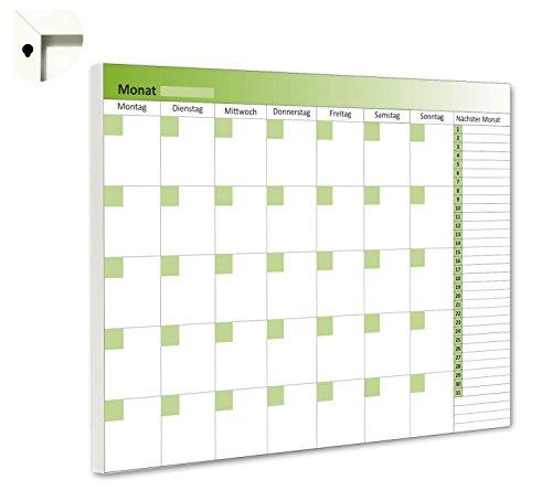 B-wie-Bilder.de maandplanner maandkalender 5 weken overzicht planbord magneetbord weekplanning 100 x 80 cm groen/wit.
