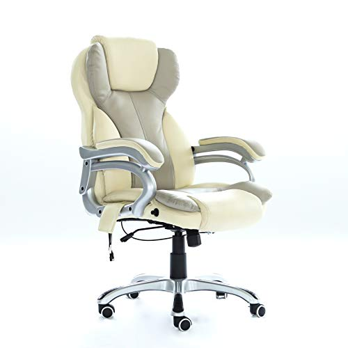 WestWood New Heated Massage Gaming Office Chair   Reclining Home Computer Swivel Seat   orthopedic Lumbar Support Winged Back Chair   Cream – MC8074