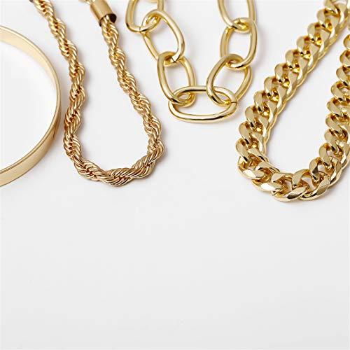 EMFGJ - Pulsera de cadena metálica para mujer y niña, estilo vintage, estilo punk, estilo cubano, estilo vintage, color dorado