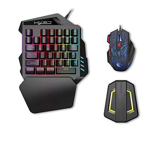 HXSJ J50 Gaming Keyboard Mouse Set, HXSJ P6 Keyboard + LED Backlight Mouse and Mouse Adapter Compatible for N-Switch / Xbox One / PS4 / PS3 / Xbox One 360