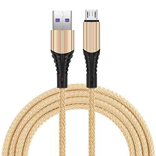 Cargador de Android con Cable Trenzado de Nailon y Cable Micro USB Compatible con teléfonos Inteligentes Sam-Sung, Kindle y Android