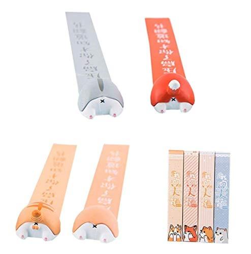 HJQL Nettes Tier-Hüftband-Lesezeichen, Cartoon-Design-Briefpapier, Corgi Hamster Kitty Firefox Butt, 4Er-Pack