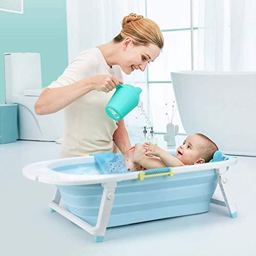 Jacar - Faltbare Babybadewanne Blau Farbe für Reisen   Neugeborene Babywanne - rutschfest   Baby Mesh Stuhl für Badezimmer
