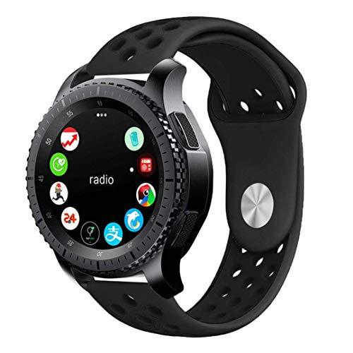 Pulseira 22mm Sport compatível com Samsung Galaxy Watch 3 45mm - Galaxy Watch 46mm - Gear S3 Frontier - Amazfit GTR 47mm - Amazfit GTR 2 - Marca LTIMPORTS (Preto com Preto)