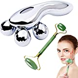 FIGHTART 3D Roller Face Massager Face Lift Tool Firming Pain Relief Muscle Body Back Neck Joint with Gift Jade Roller