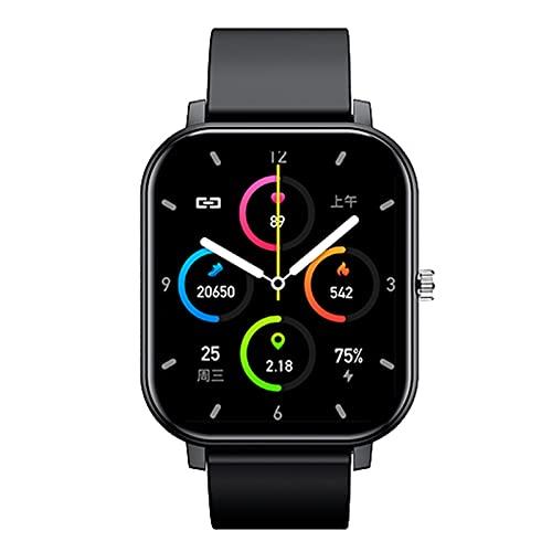 HQPCAHL Smartwatch para Android iOS Llamada De Voz Bluetooth con Temperatura Corporal Control De Música Protección con Contraseña Rastreador De Ejercicios para Hombres Y Mujeres,Negro