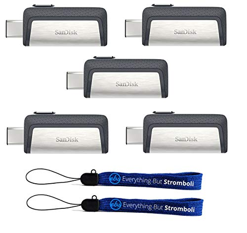 SanDisk Ultra 64GB Dual Drive USB Type-C (Five Pack) Works with Smartphones, Tablets, and Computers (SDDDC2-064G-G46) Bundle with (2) Everything But Stromboli Lanyard