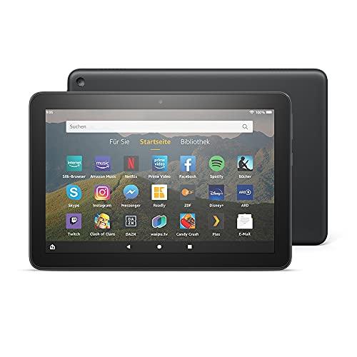Fire HD 8-Tablet, 8-Zoll-HD-Bildschirm, 32 GB, Schwarz, Mit Werbung, für Unterhaltung unterwegs