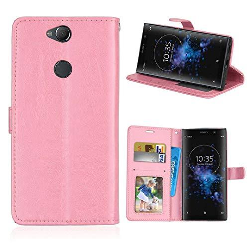 SATURCASE Sony Xperia XA2 Plus Hülle, Glatt PU Lederhülle Magnetverschluss Brieftasche Kartenfächer Standfunktion Handy Tasche Schutzhülle Handyhülle Hülle für Sony Xperia XA2 Plus (Rosa)