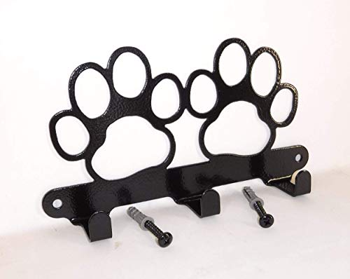 Double Dog Paw Leash Hook. Solid Steel. Handmade in USA. Gloss Black Finish. Screws Included.