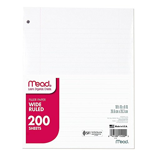 """Mead Loose Leaf Paper, Wide Ruled, 200 Sheets, Standard 10-1/2"""" x 8"""", Lined Filler Paper, 3 Hole Punched for 3 Ring Binder, Writing & Office Paper, College, K-12 or Homeschool, 1 Pack (15200)"""