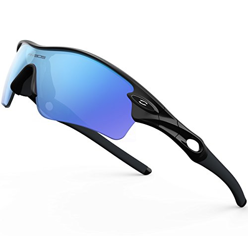 RIVBOS 805 Polarized Sports Sunglasses Glasses with 5 Set Interchangeable Lenses for Cycling Black ice Blue Lens