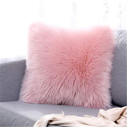 YIHAIC Funda de cojín de sofá, Funda Almohada de Suave Piel sintética de Lana, Cuadrados y Suaves Cojines PeloPara la Decoración del Hogar Sofá Cama del Coche 45 x 45 cm (Rosa)
