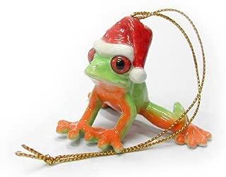 FROG RED-EYED TREE n Santa Hat Christmas Ornament PORCELAIN MINIATURE New NORTHERN ROSE R259