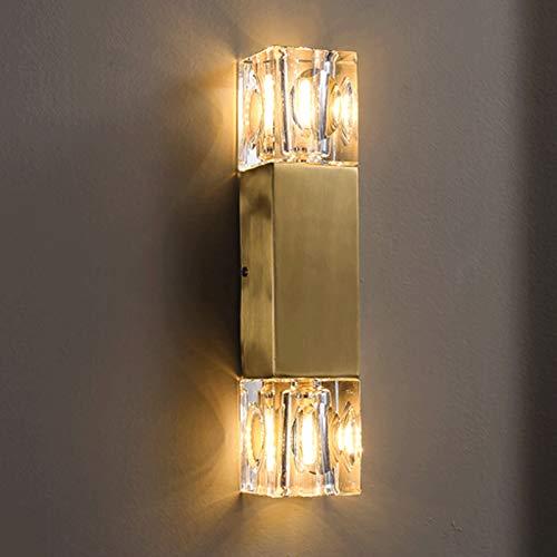 zxb-shop Lámpara de Pared Moderna Fuente de luz LED de Cobre Simple Moderna G9 * 2, Adecuado para Sala de Estar, Dormitorio, Estudio, Pasillo, etc. Lámpara de Pared para Interiores