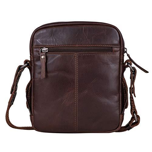 STILORD 'Nash' Borsello a Tracolla Uomo in Pelle Borsa Vintage Piccola Borsetta Cuoio Messenger Bag per Tablet, Colore:novello - marron