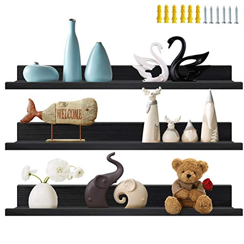36 Inch Black Floating Wall Ledge Shelves Set of 3, Photo Picture Ledge Shelf for Office, Bedroom,...