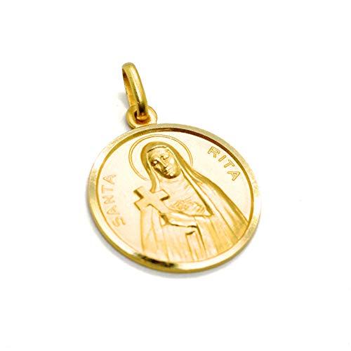 Colgante mini medalla Santa Rita, diámetro 1,1 cm, oro amarillo 750 18 K, sólido, muy detallado