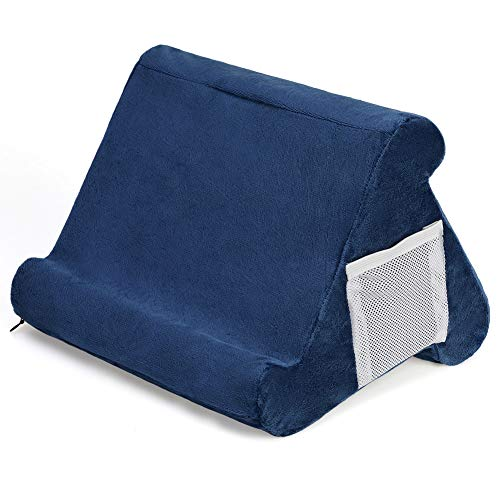 Foldable Pillow Stand for Tablet Book Rest Reading Support Cushion for Home Bed Sofa Multi-Angle Soft Pillow Lap Stand Tablet Stand Pillow Couch Pillow Stand eReaders (Navy)