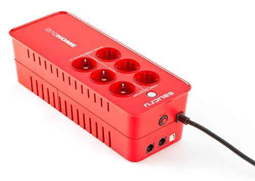 SALICRU SPS 650 Home – Sistema de alimentación ininterrumpida (sai/ups) de 650 va Off-Line multibase, Color Rojo