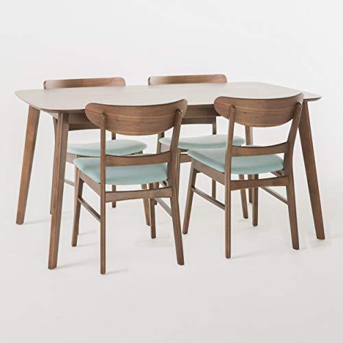 Christopher Knight Home Helen Mid Century Fabric & Wood Finish 5 Piece Dining Set (Walnut/Mint)