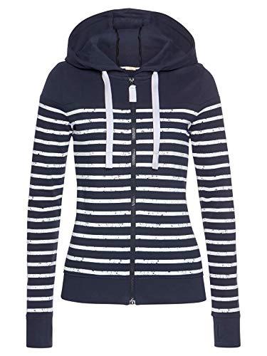 ELFIN Chaqueta con capucha para mujer, diseño de rayas azul marino L