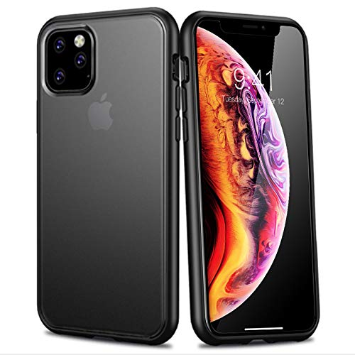 WATACHE iPhone 11 Case, Hybrid Clear Crystal Soft TPU Bumper Hard PC Matte Back Plate Slim Fit Protective Case for Apple iPhone 11,Black