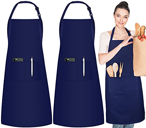 InnoGear 2 Pack Adjustable Bib Aprons, Waterdrop Resistant Apron with 2 Pockets Cooking Kitchen Restaurant Aprons for BBQ Drawing, Women Men Chef (Navy Blue)