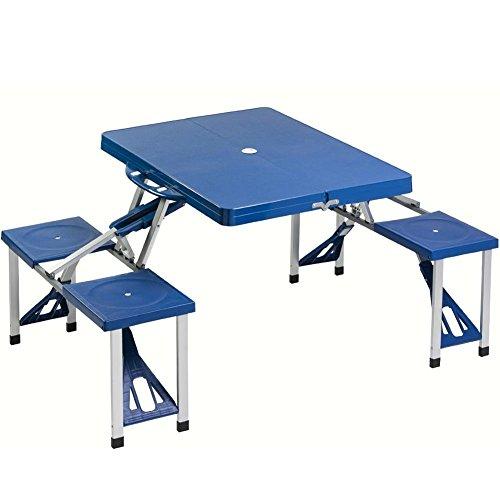 Outdoor Camping Set Tavolo Tavolino Pieghevole PIC NIC Campeggio Struttura in Alluminio con 4 Sgabelli Pieghevole a Valigetta, Ideale per Il Campeggio, Picnic, Mare, Spiaggia, Giardino (Blu)