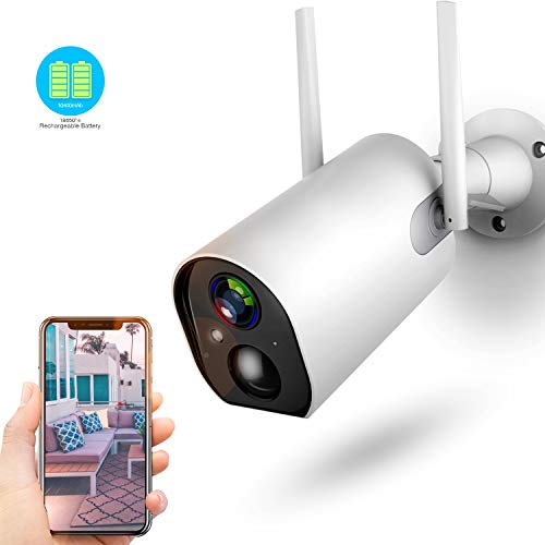 Wireless Outdoor Security Camera, 10400mAh Rechargeable Battery-Powered 1080P WiFi Camera, Motion Detection, 2-Way Audio, Night Vision, IP66 Waterproof, Cloud Storage/SD Slot, 2.4G WiFi